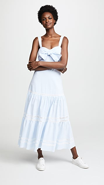 Jonathan Simkhai Striped Cotton Tiered Maxi Dress - Sky Combo