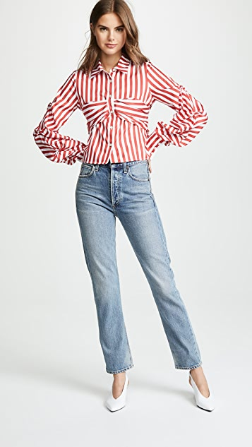 Jonathan Simkhai Combo Tuck Sleeve Shirt