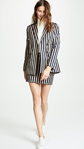 Jonathan Simkhai Striped Double Breasted Skirt