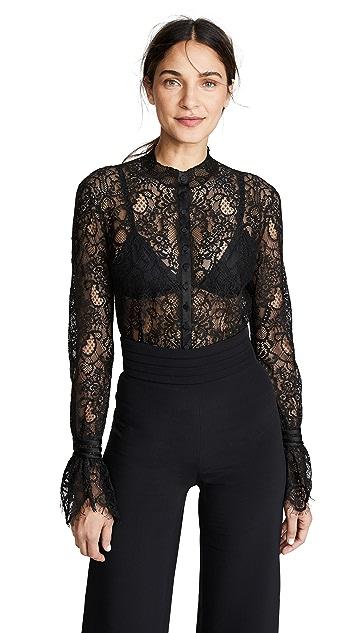 Jonathan Simkhai Mixed Lace Rouched Sleeve Bodysuit