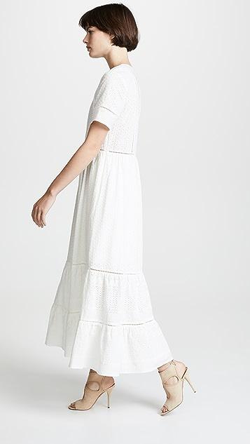 Jonathan Simkhai Embroidered Button Down Tee Dress