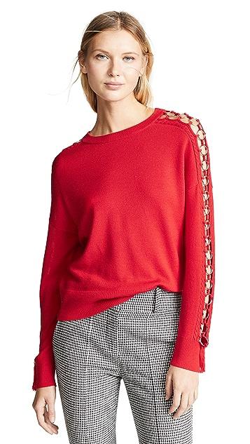 Jonathan Simkhai Metal Tassel Open Sleeve Sweater