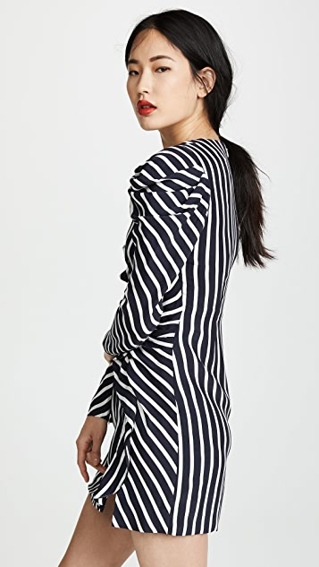 Jonathan Simkhai Stripe Ruffle Slit Dress