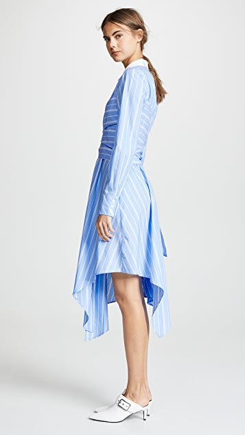 Jonathan Simkhai Long Sleeve Oxford Wrap Dress
