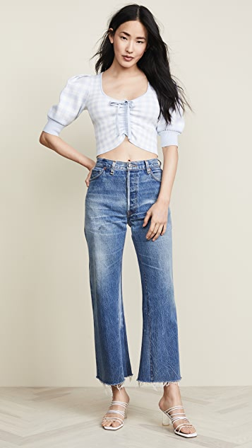 Jonathan Simkhai Gingham Knit Ruched Front Crop Top