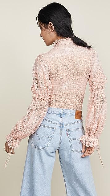 Jonathan Simkhai Mixed Knit Puff Sleeve Bodysuit