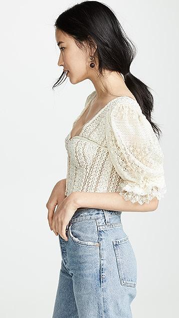 Jonathan Simkhai Mixed Knit Lace Puff Sleeve Bustier Top