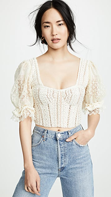 Jonathan Simkhai Mixed Knit Lace Puff Sleeve Bustier Top