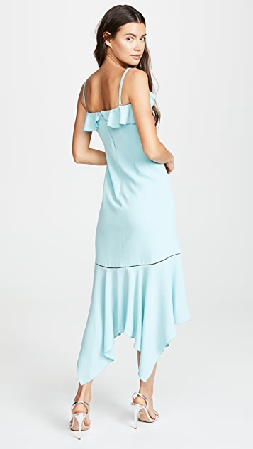 Jonathan Simkhai Crepe Asymmetric Ruffle Dress