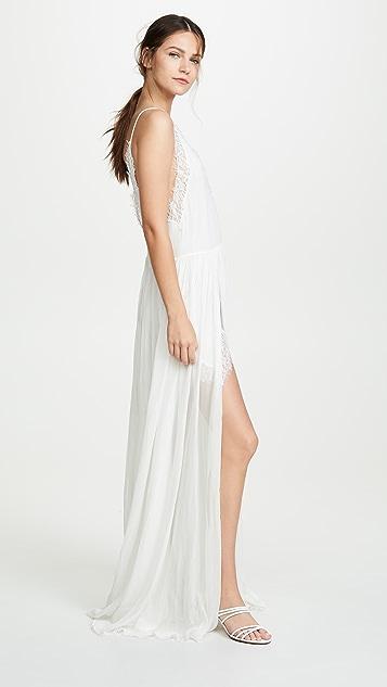 Jonathan Simkhai Многослойное вечернее платье из кружевного шифона с вышивкой