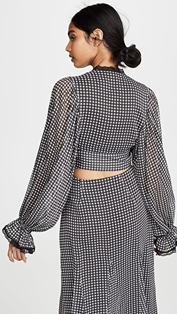 Jonathan Simkhai Gingham Front Tie Ruffle Sleeve Top