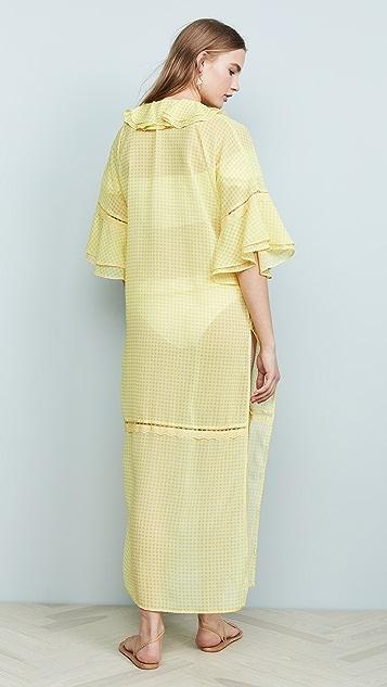 Jonathan Simkhai Gingham Ruffle Long Robe