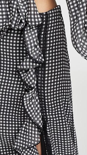 Jonathan Simkhai Gingham Ruffle Slit Maxi Skirt