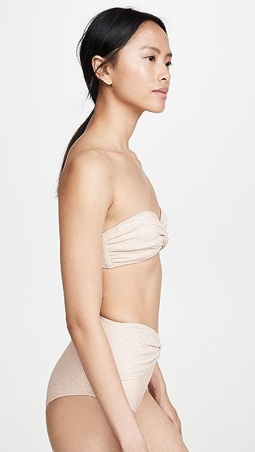 Jonathan Simkhai Metallic Front Twist Bikini Top