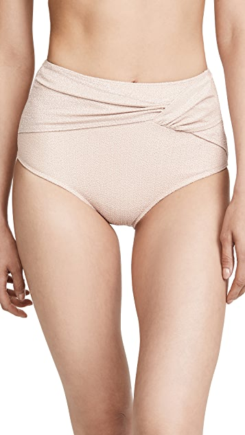 Jonathan Simkhai Metallic Front Twist Bikini Bottoms