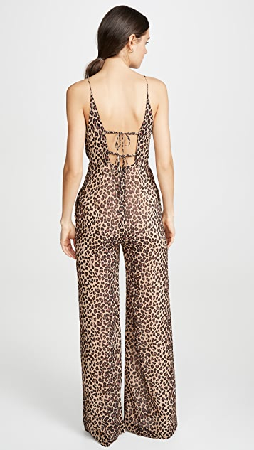 Jonathan Simkhai Leopard Print Tie Back Jumpsuit