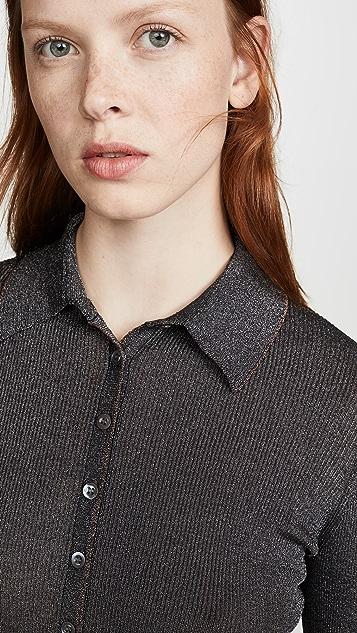 Jonathan Simkhai Металлизированная футболка в рубчик с передней застежкой