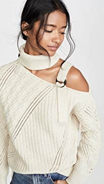 Strapped Wool Asymmetric Sweater