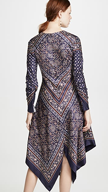 Jonathan Simkhai Scarf Print Deep V Long Sleeve Dress