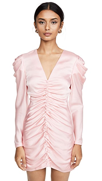 Jonathan Simkhai Crepe Back Satin Puff Sleeve Dress