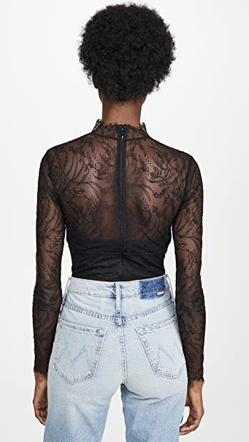 Jonathan Simkhai Embroidered Lace Long Sleeve Bodysuit