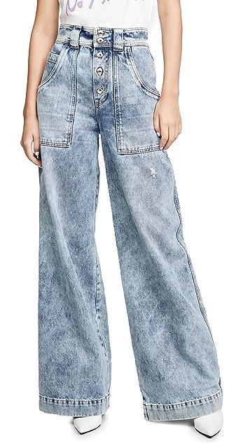 Jonathan Simkhai Классические брюки из денима в рабочем стиле
