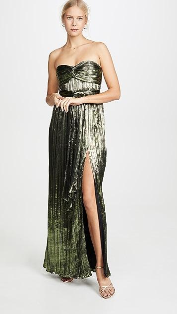 Jonathan Simkhai Dresses Metal Plissé Strapless Gown