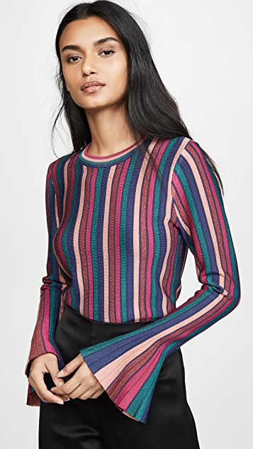 Jonathan Simkhai Tops Metallic Stripes Bell Sleeve Top