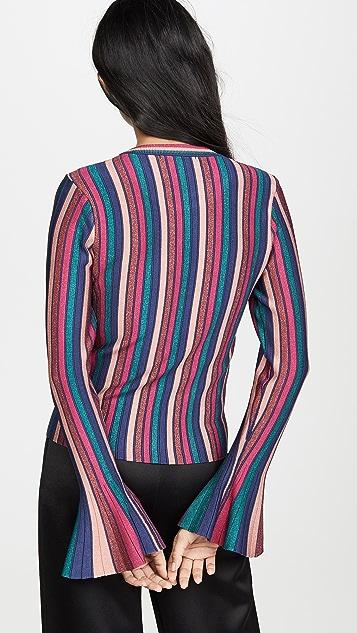 Jonathan Simkhai 金属色条纹喇叭袖上衣