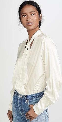 Jonathan Simkhai - Charmeuse Wrap Front Bodysuit