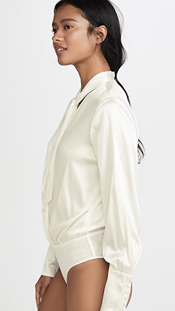 Jonathan Simkhai Charmeuse Wrap Front Bodysuit