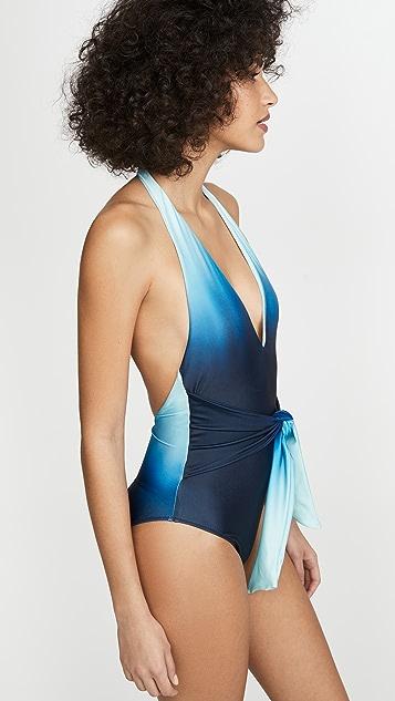 Jonathan Simkhai Сплошной купальник с перекрученным элементом спереди, глубоким V-образным вырезом и эффектом «омбре»