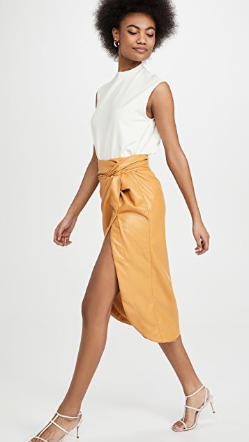 Jonathan Simkhai Vegan Leather Twist Skirt