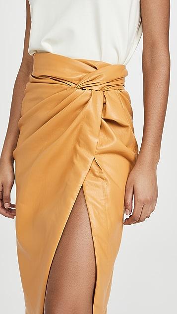 Jonathan Simkhai 人造皮扭褶半身裙