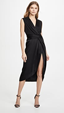 Luxe Satin Combo Twist Dress