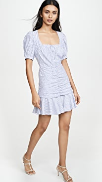 Striped Ruched Front Mini Dress