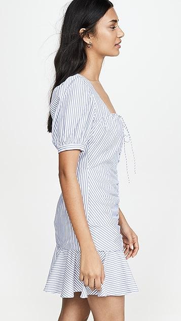 Jonathan Simkhai Мини-платье со сборками спереди и рисунком в полоску