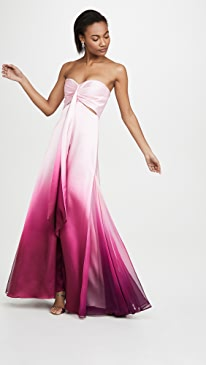 Ombre Satin Cutout Bustier Gown