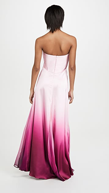 Jonathan Simkhai Ombre Satin Cutout Bustier Gown