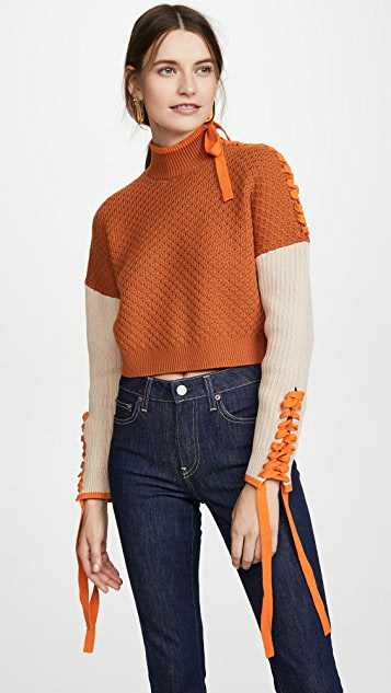 Jonathan Simkhai Tops Braided Cotton Cropped Turtleneck