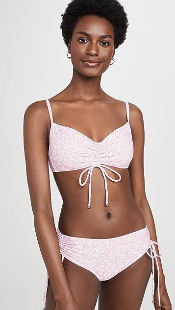 Jonathan Simkhai Alina Floral Smocked Bikini Top