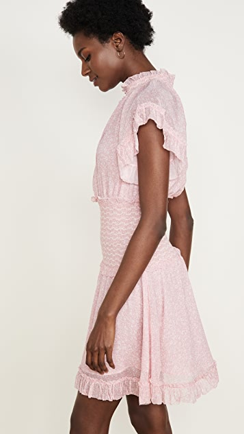 Jonathan Simkhai Платье Serena из жатого шифона с цветочным рисунком