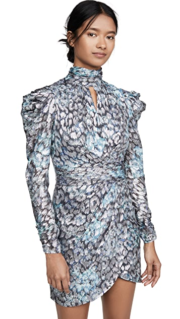 Jonathan Simkhai Metallic Vine Mock Neck Dress