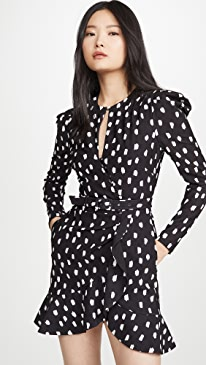 Polka Dot Belted Wrap Dress