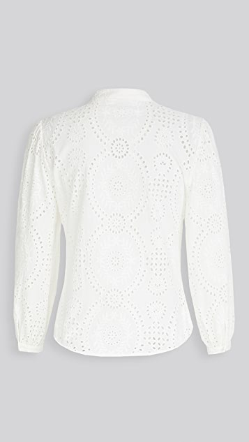 Jonathan Simkhai Alex Broderie Anglaise Button Front Top