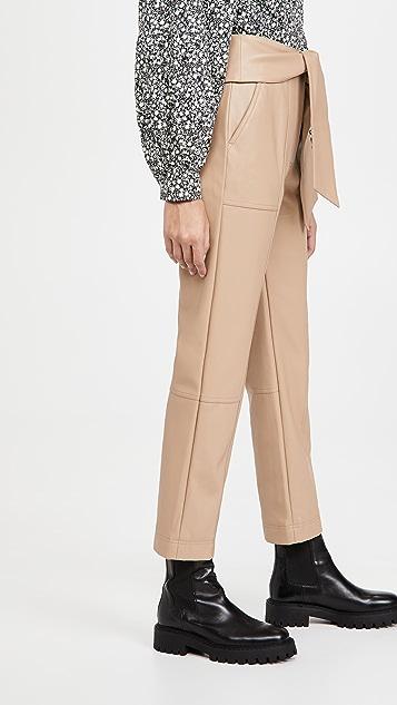 Jonathan Simkhai Tessa Vegan Leather Tie Waist Pants