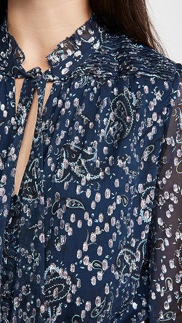 Jonathan Simkhai Monroe Long Sleeve Ruffle Blouse