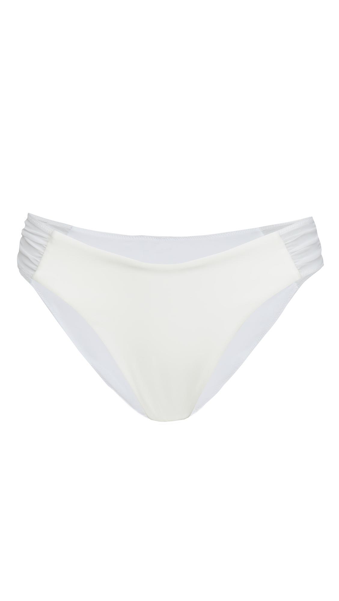 Jonathan Simkhai Camila Sheer Not Sheer Side Ruched Bikini Bottoms