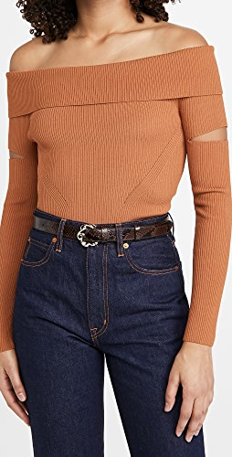 Jonathan Simkhai - Zayla Compact Knit Off Shoulder Sweater