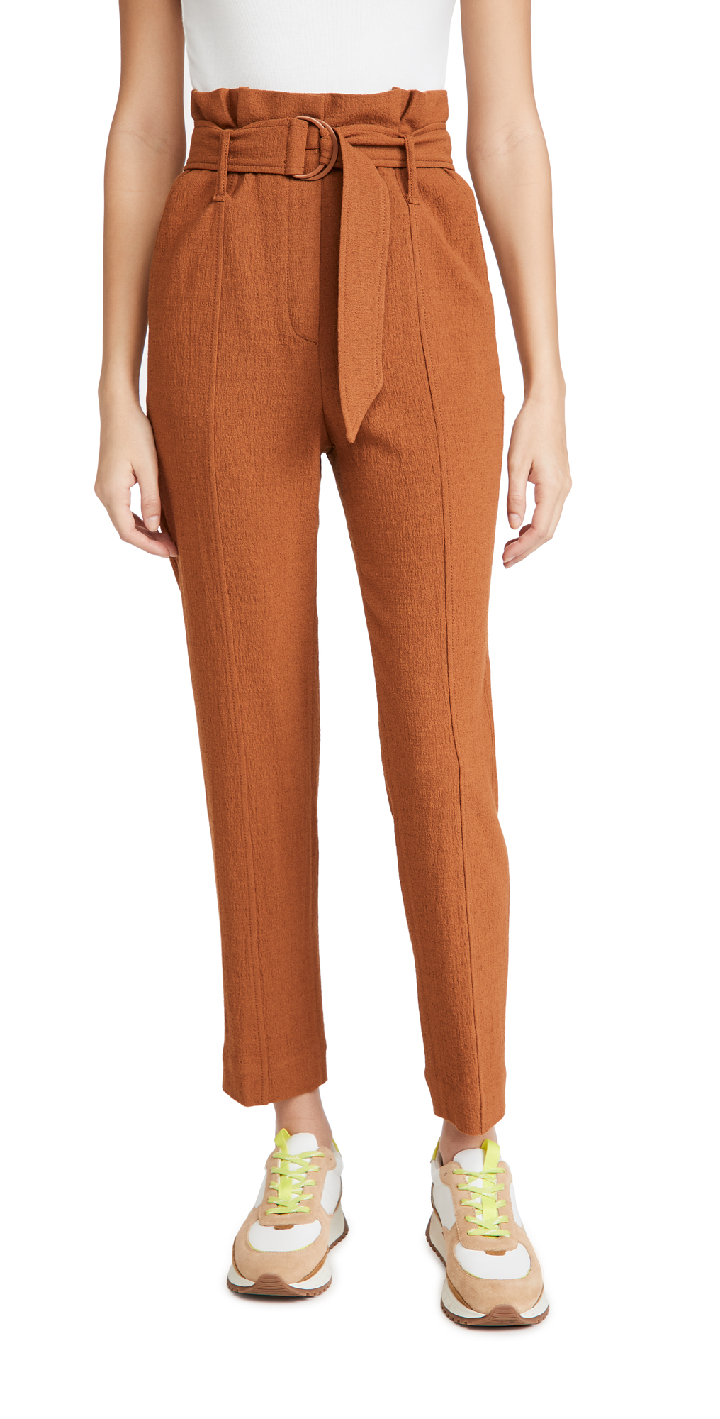 Jonathan Simkhai Henny Textured Daywear Cropped Paperbag Pants